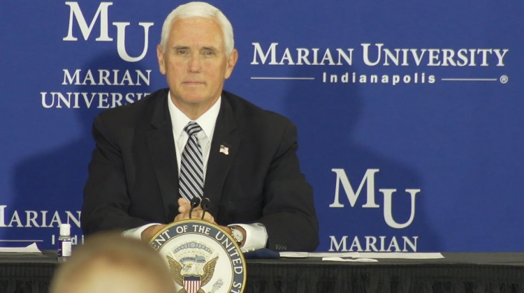 During a roundtable discussion hosted by Marian University in Indianapolis, Pence highlighted the many wraparound services K-12 schools provide.  - Alan Mbathi/IPB News