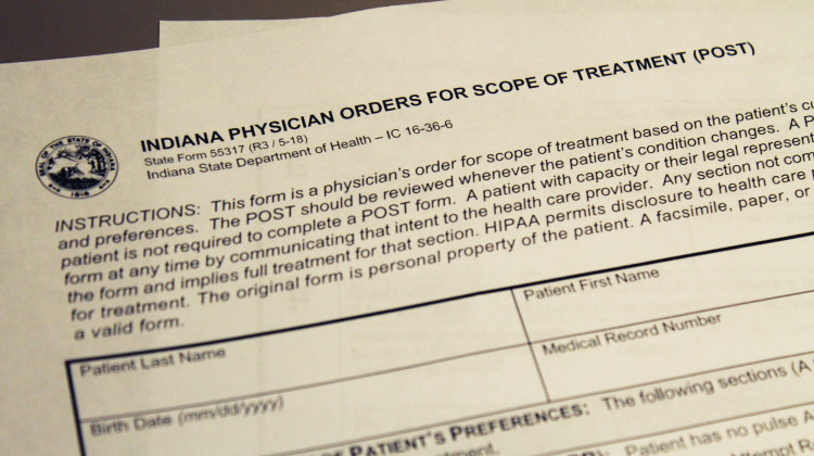 Indiana POST form details the patient's wishes if they have an advanced or progressive illness. - Lauren Chapman/IPB News