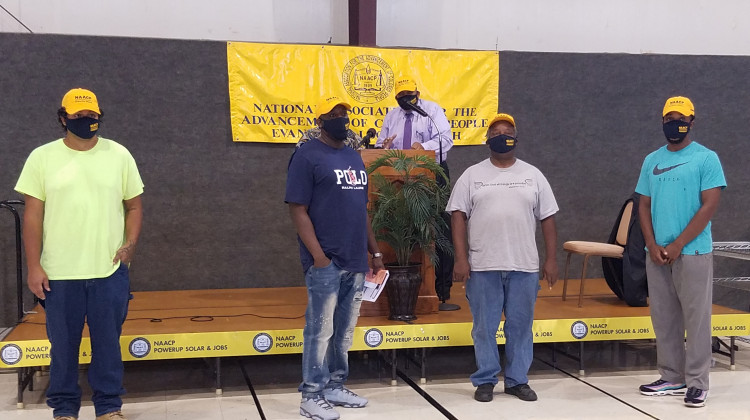 The Indiana NAACP announced the first group of graduates to finish its solar job training program.  - Steve Burger/WNIN