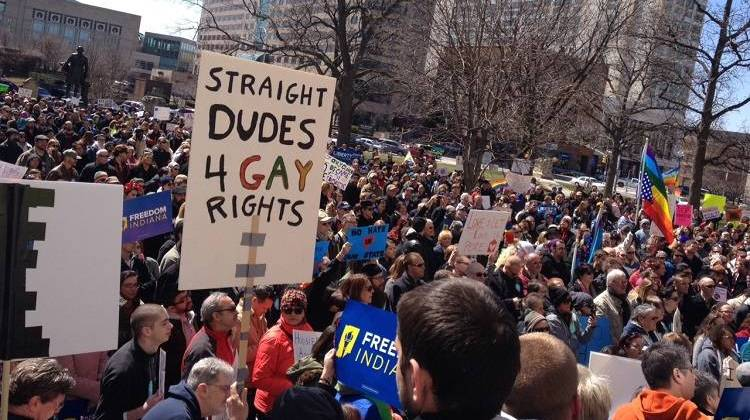 "Thousands of people turned out Saturday to oppose Indiana's new ""religious freedom"" law."