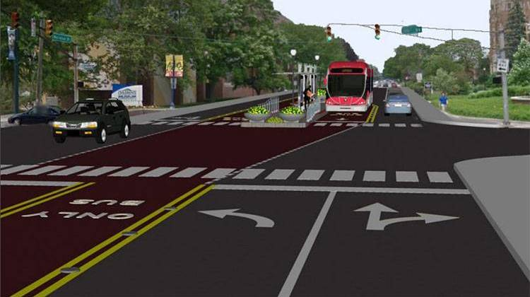 An artist's rendering of the Red Line along Meridian Street. - IndyGo