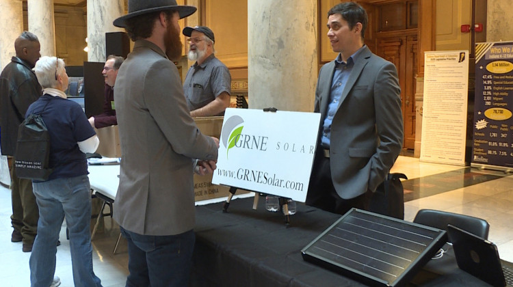 Booths at the 2020 Renewable Energy Day at the Indiana Statehouse. - Rebecca Thiele/IPB News