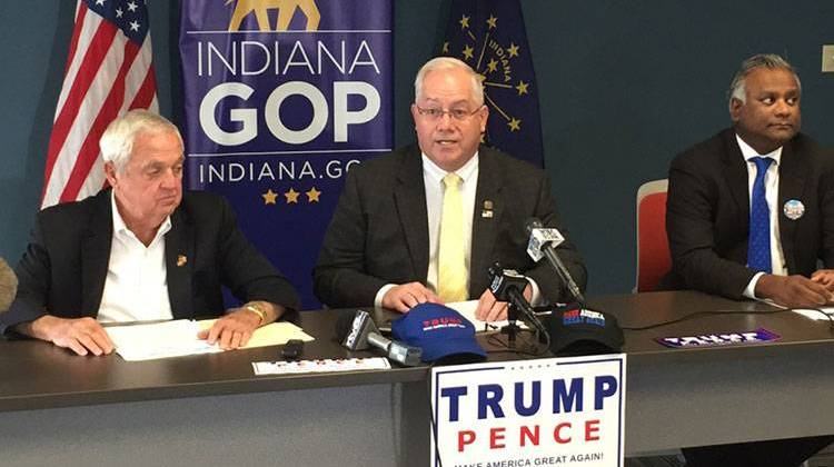 Indiana GOP chair Jeff Cardwell sits between the Trump-Pence campaign's Rex Early and Tony Samuel. - Brandon Smith/IPBS