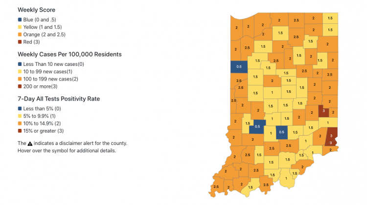 53 Indiana Counties Labeled Higher-Risk For COVID-19 Spread