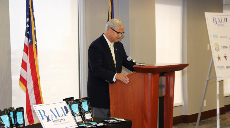 Indiana Sen. Jim Merritt (R-Indianapolis) announces RALI Indiana coalition.  - Photo courtesy of Bose Public Affairs