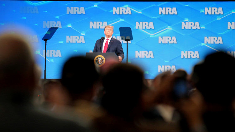Trump Speaks At NRA Convention, Small Protest Gathers Outside