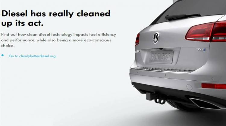 "An image taken from a document filed in court Tuesday includes an example of the advertising Volkswagen executives used to sell the idea of ""clean"" diesel technology to U.S. consumers."