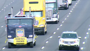 Truckers Participate In 'Slow Roll' Protest On I-465
