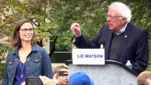Sen. Bernie Sanders Campaigns For Liz Watson In Bloomington