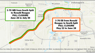 INDOT To Close Both Directions Of I-70 From South Split To Ronald Reagan Parkway