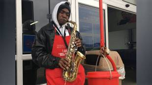 Salvation Army Volunteer Trades The Signature Bell For His Saxophone