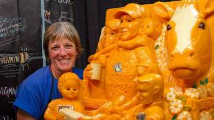 Sarah Kaufmann spent the first week of the Indiana State Fair whittling away at more than 1,500 pounds of Indiana cheddar to create this sculpture. - Doug Jaggers