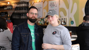 Luke and Annie Pierce at Lawbird in Columbus Ohio's Brewery District - Nick Evans/WOSU