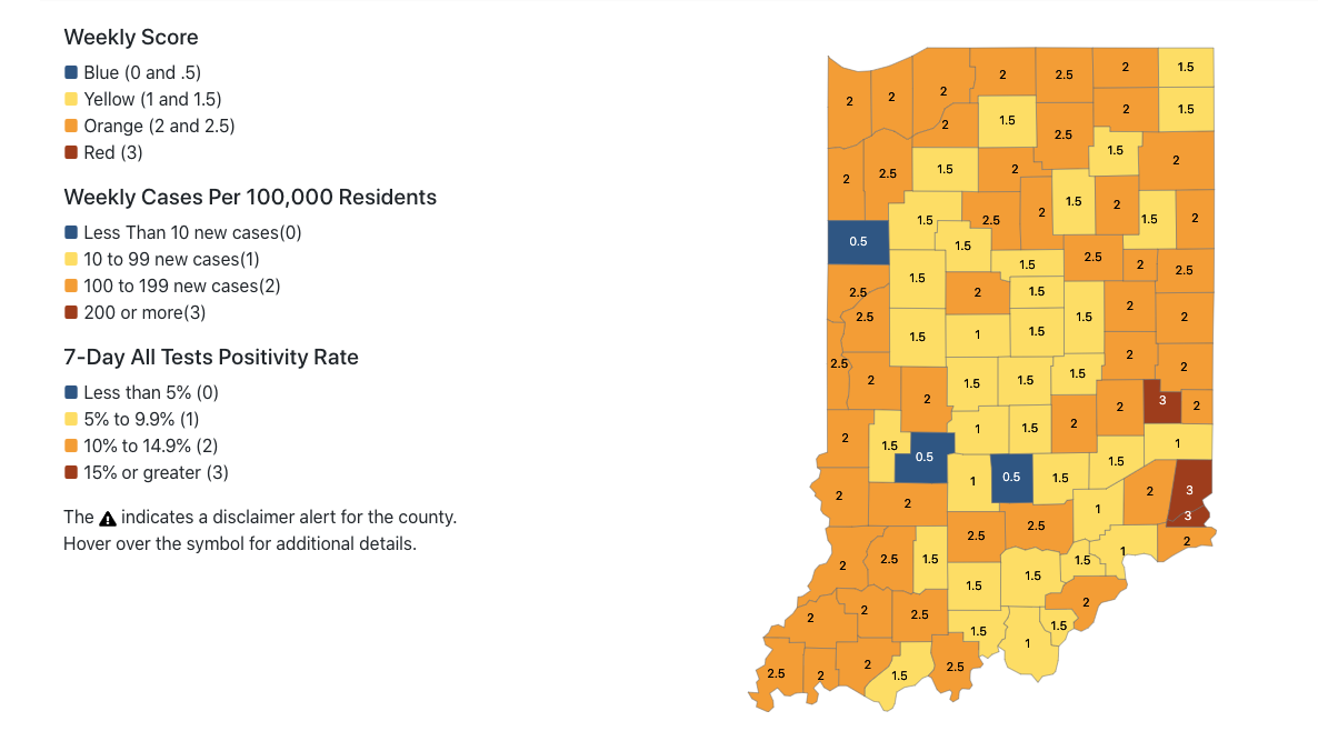 53 Indiana Counties Labeled Higher Risk For Covid 19 Spread